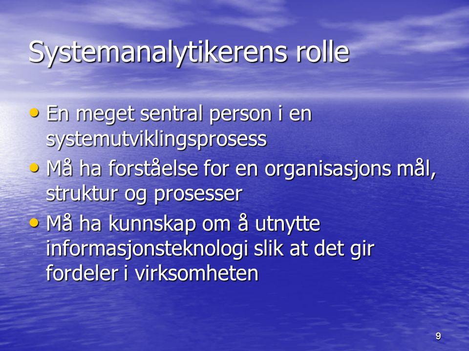 9 Systemanalytikerens rolle En meget sentral person i en systemutviklingsprosess En meget sentral person i en systemutviklingsprosess Må ha forståelse