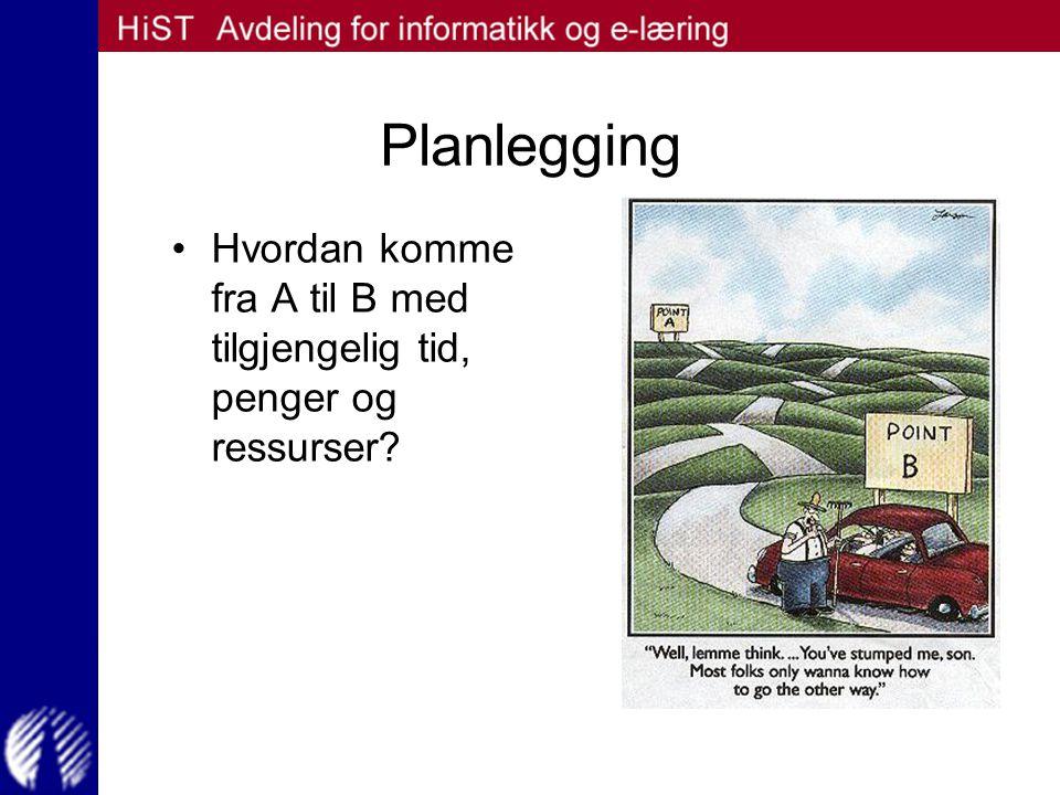 Planlegging Hvordan komme fra A til B med tilgjengelig tid, penger og ressurser?