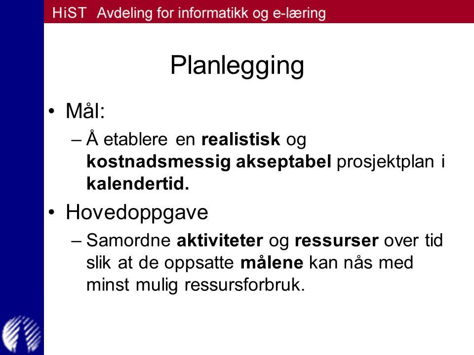 Planlegging Mål: –Å etablere en realistisk og kostnadsmessig akseptabel prosjektplan i kalendertid. Hovedoppgave –Samordne aktiviteter og ressurser ov
