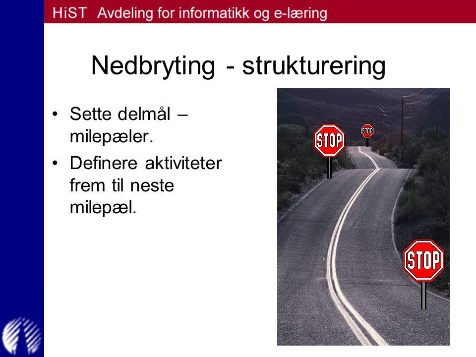 Nedbryting - strukturering Sette delmål – milepæler. Definere aktiviteter frem til neste milepæl.