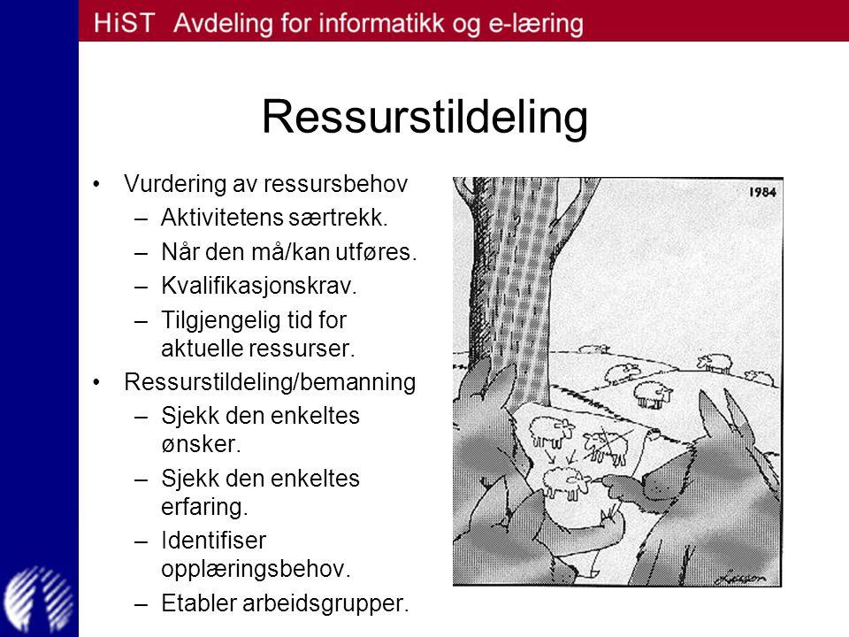 Ressurstildeling Vurdering av ressursbehov –Aktivitetens særtrekk. –Når den må/kan utføres. –Kvalifikasjonskrav. –Tilgjengelig tid for aktuelle ressur