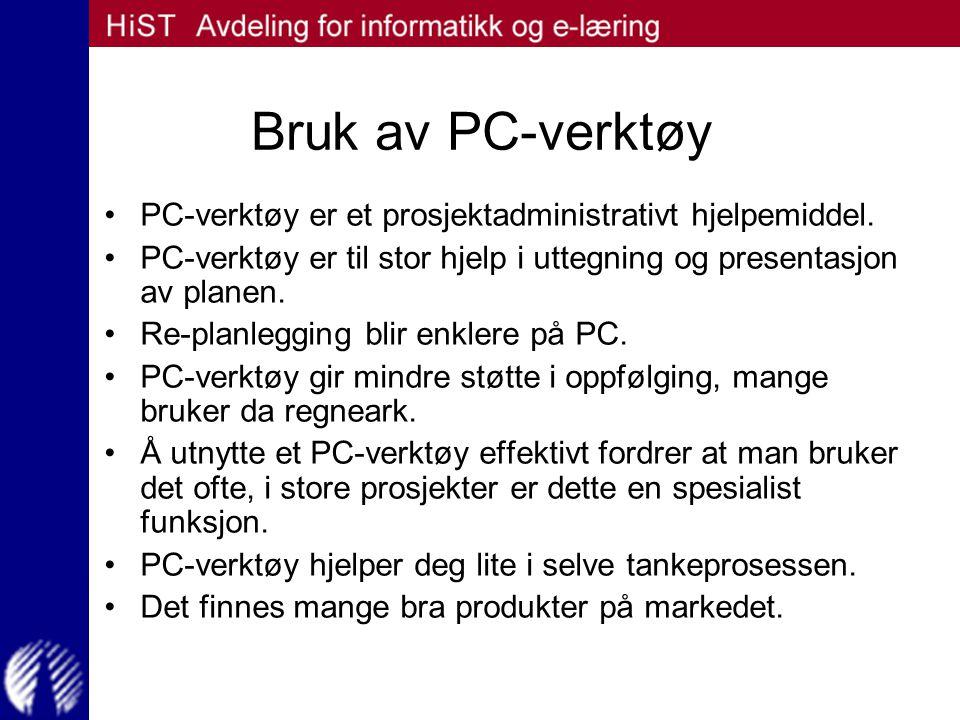 Bruk av PC-verktøy PC-verktøy er et prosjektadministrativt hjelpemiddel. PC-verktøy er til stor hjelp i uttegning og presentasjon av planen. Re-planle