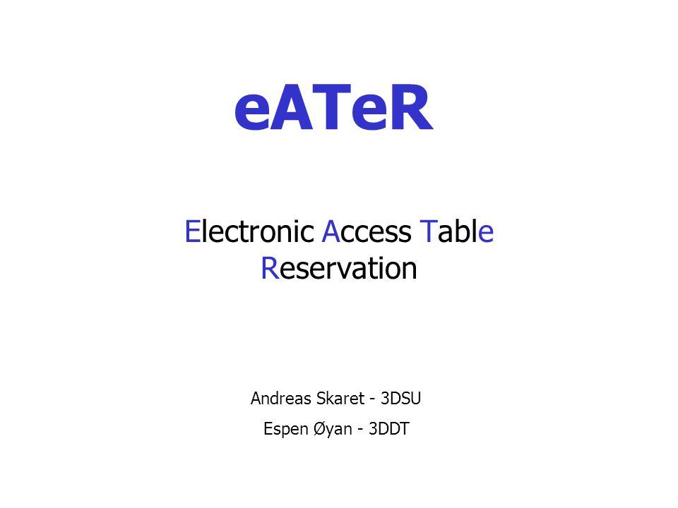 eATeR Electronic Access Table Reservation Andreas Skaret - 3DSU Espen Øyan - 3DDT