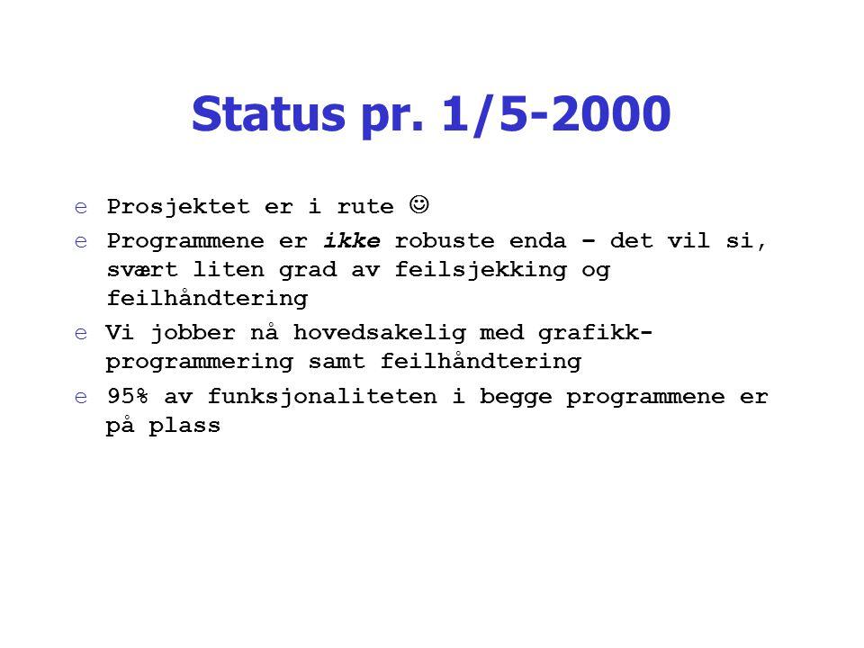 Status pr. 1/5-2000 eProsjektet er i rute eProgrammene er ikke robuste enda – det vil si, svært liten grad av feilsjekking og feilhåndtering eVi jobbe