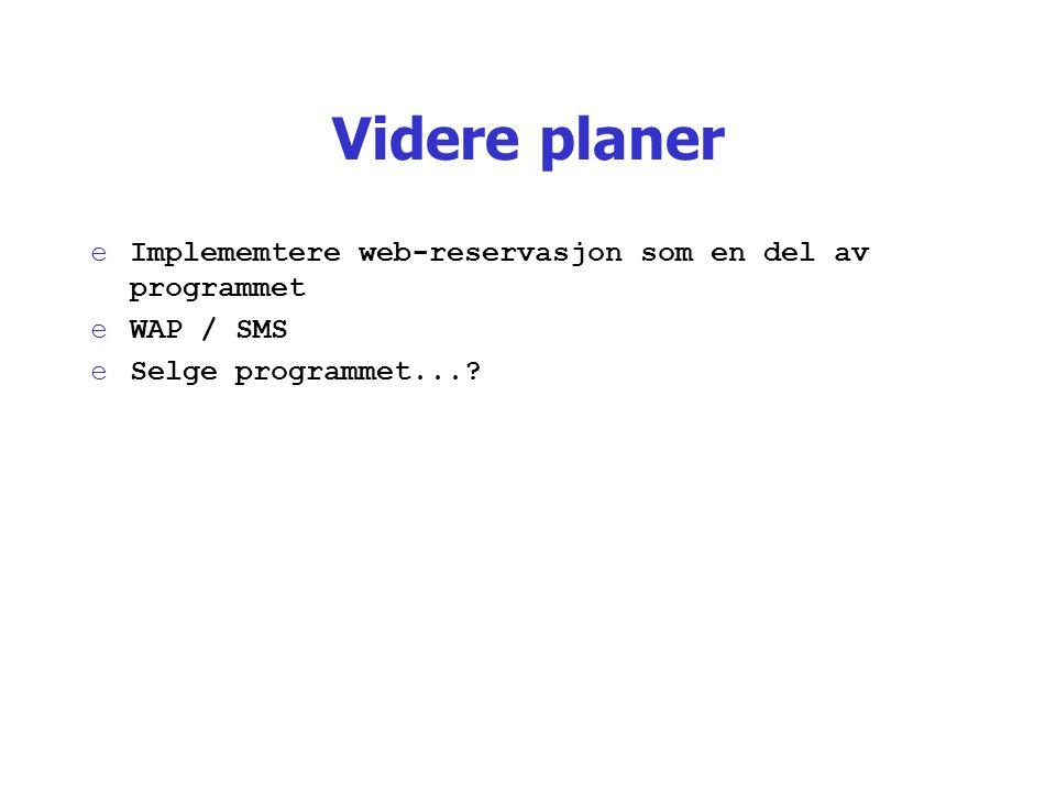 Videre planer eImplememtere web-reservasjon som en del av programmet eWAP / SMS eSelge programmet...?
