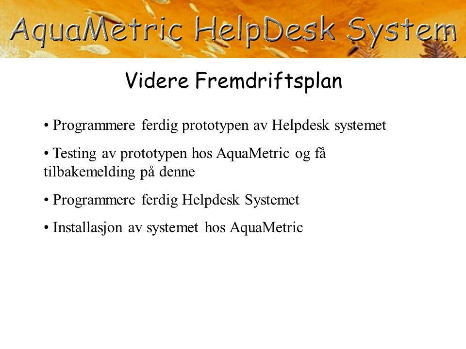 Programmere ferdig prototypen av Helpdesk systemet Testing av prototypen hos AquaMetric og få tilbakemelding på denne Programmere ferdig Helpdesk Syst