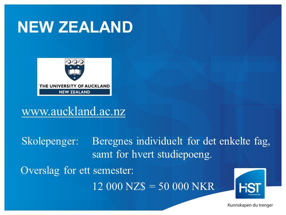 NEW ZEALAND www.auckland.ac.nz Skolepenger:Beregnes individuelt for det enkelte fag, samt for hvert studiepoeng.