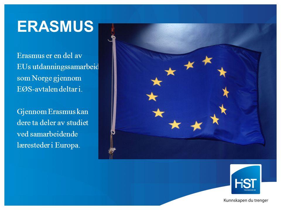 ERASMUS Erasmus er en del av EUs utdanningssamarbeid, som Norge gjennom EØS-avtalen deltar i.