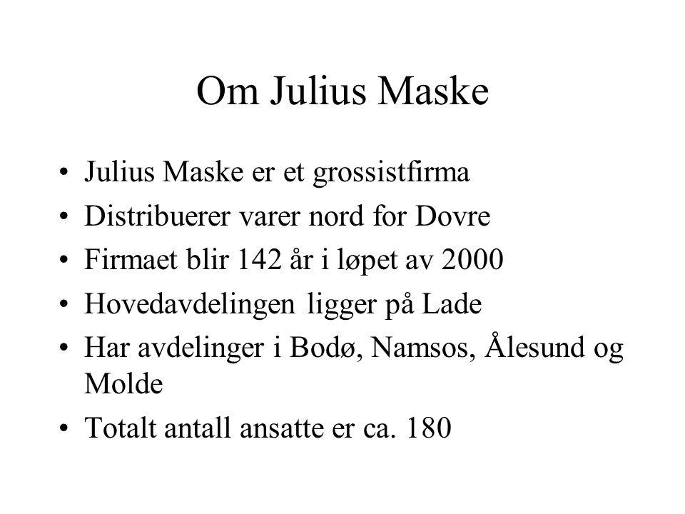 Om Julius Maske Julius Maske er et grossistfirma Distribuerer varer nord for Dovre Firmaet blir 142 år i løpet av 2000 Hovedavdelingen ligger på Lade