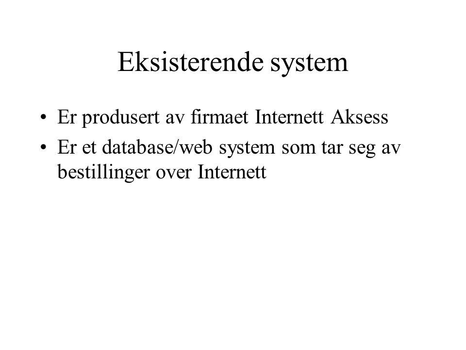 Eksisterende system Er produsert av firmaet Internett Aksess Er et database/web system som tar seg av bestillinger over Internett