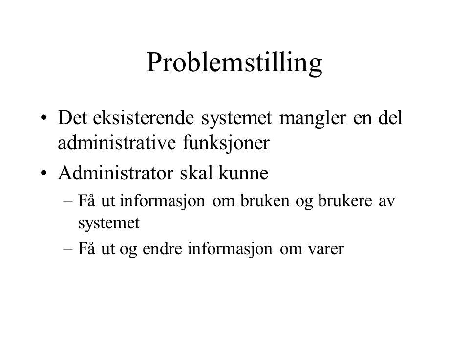Problemstilling Det eksisterende systemet mangler en del administrative funksjoner Administrator skal kunne –Få ut informasjon om bruken og brukere av