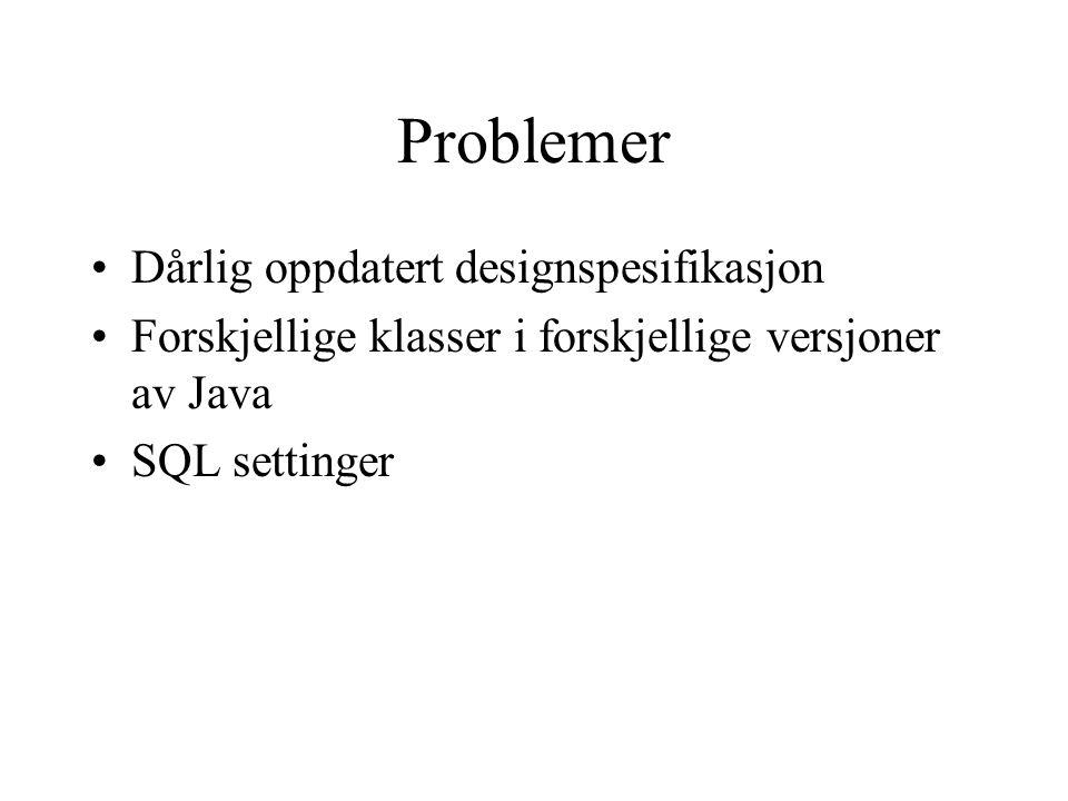 Problemer Dårlig oppdatert designspesifikasjon Forskjellige klasser i forskjellige versjoner av Java SQL settinger
