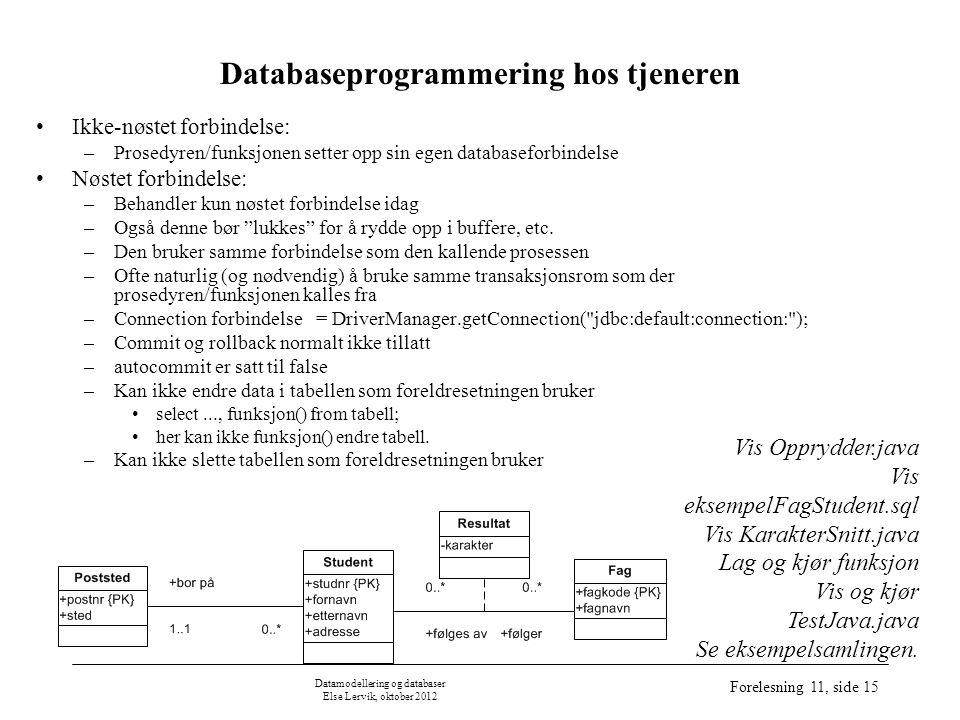 Datamodellering og databaser Else Lervik, oktober 2012 Forelesning 11, side 15 Databaseprogrammering hos tjeneren Ikke-nøstet forbindelse: –Prosedyren/funksjonen setter opp sin egen databaseforbindelse Nøstet forbindelse: –Behandler kun nøstet forbindelse idag –Også denne bør lukkes for å rydde opp i buffere, etc.