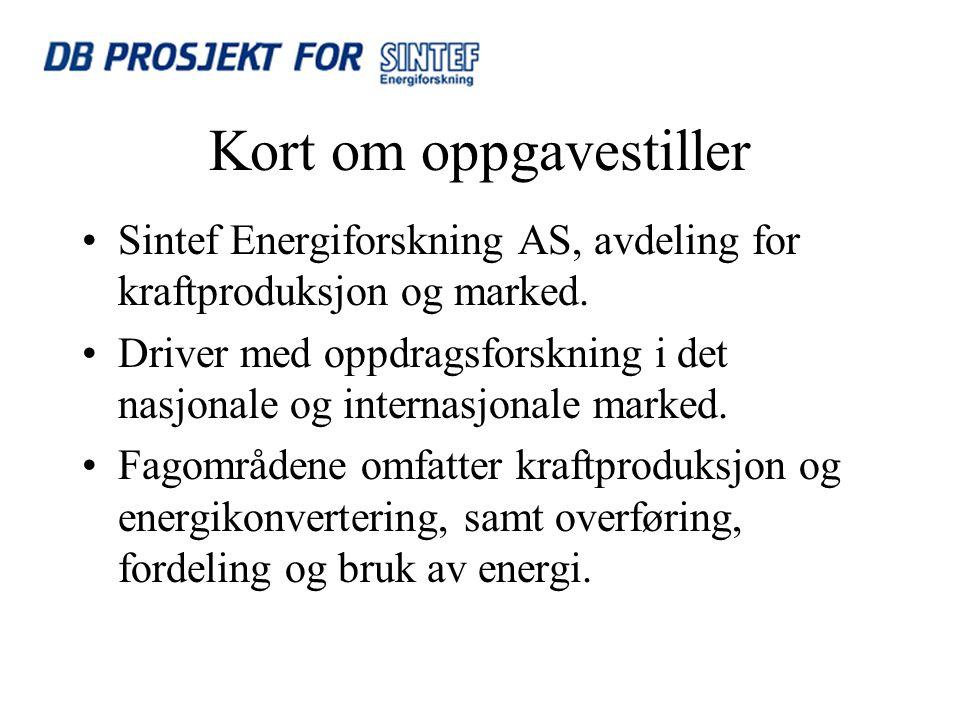 Kort om oppgavestiller Sintef Energiforskning AS, avdeling for kraftproduksjon og marked.