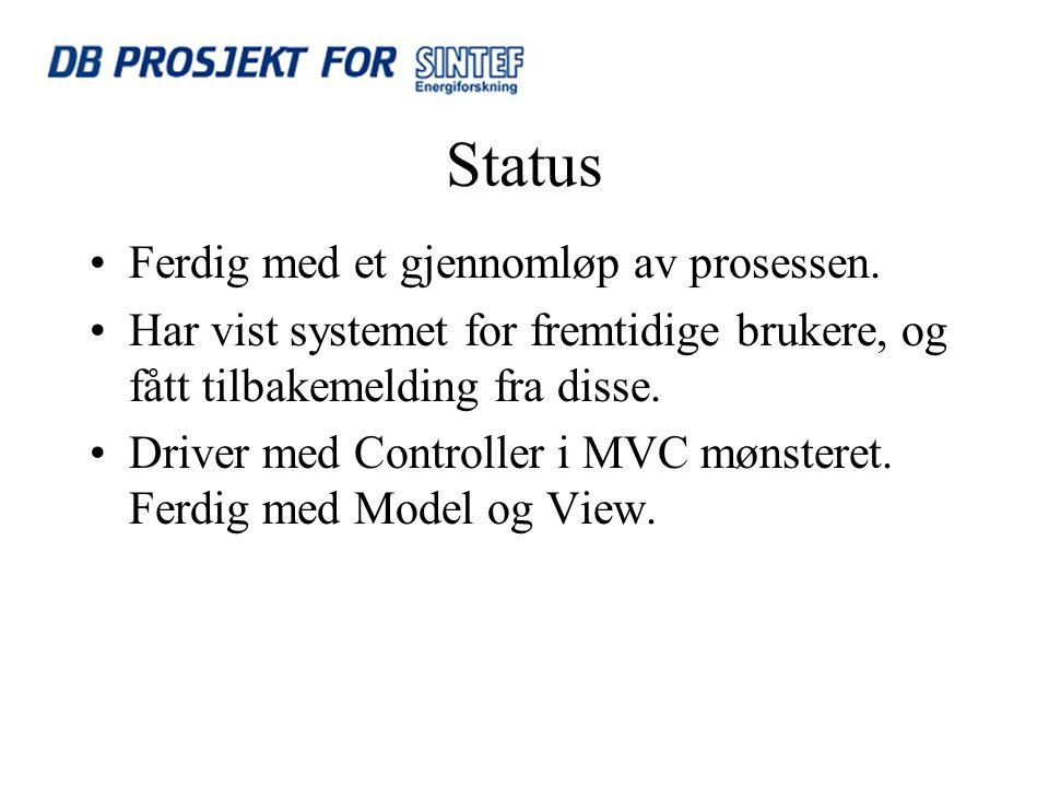 Status Ferdig med et gjennomløp av prosessen.