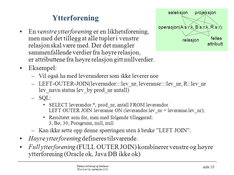 Datamodellering og databaser Else Lervik, spetember 2012 side 10 Ytterforening En venstre ytterforening er en likhetsforening, men med det tillegg at