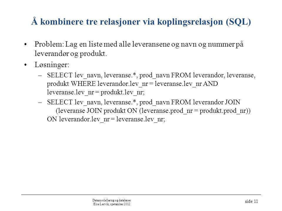 Å kombinere tre relasjoner via koplingsrelasjon (SQL) Problem: Lag en liste med alle leveransene og navn og nummer på leverandør og produkt. Løsninger