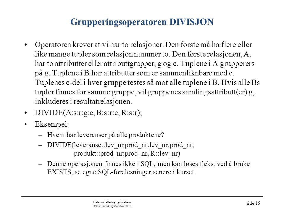 Datamodellering og databaser Else Lervik, spetember 2012 side 16 Grupperingsoperatoren DIVISJON Operatoren krever at vi har to relasjoner. Den første