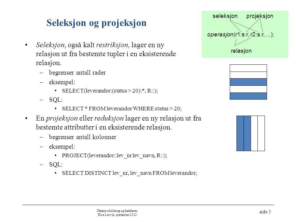 Datamodellering og databaser Else Lervik, spetember 2012 side 5 Seleksjon og projeksjon Seleksjon, også kalt restriksjon, lager en ny relasjon ut fra