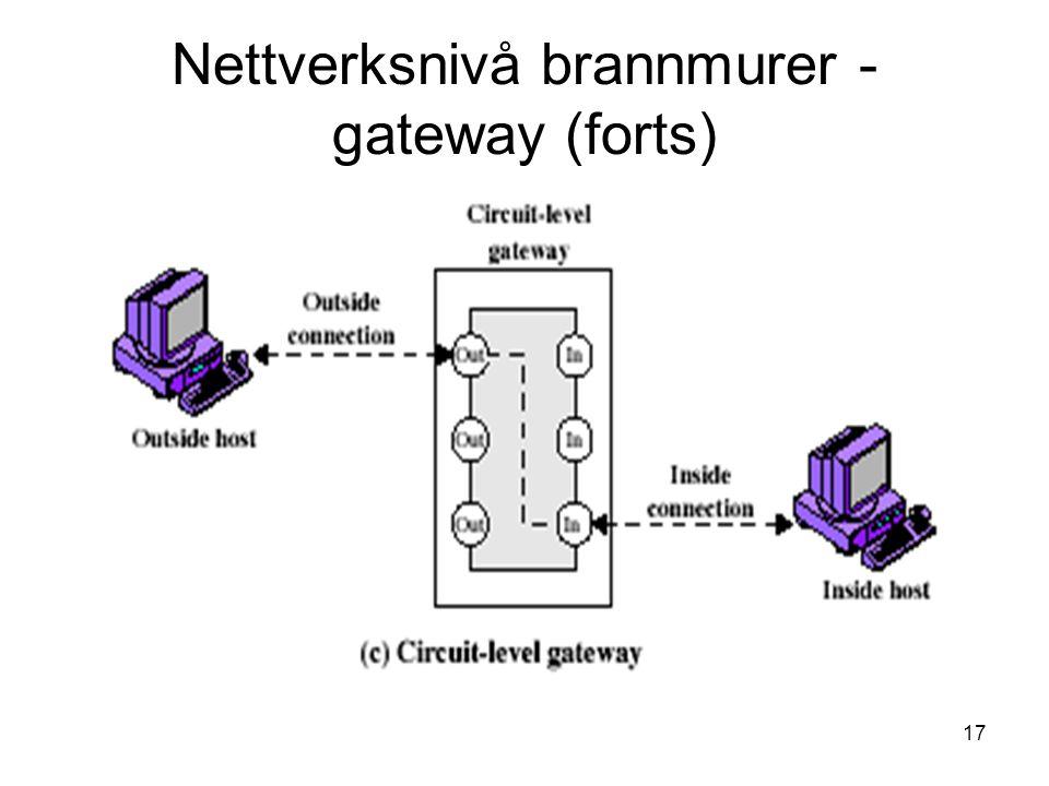 17 Nettverksnivå brannmurer - gateway (forts)