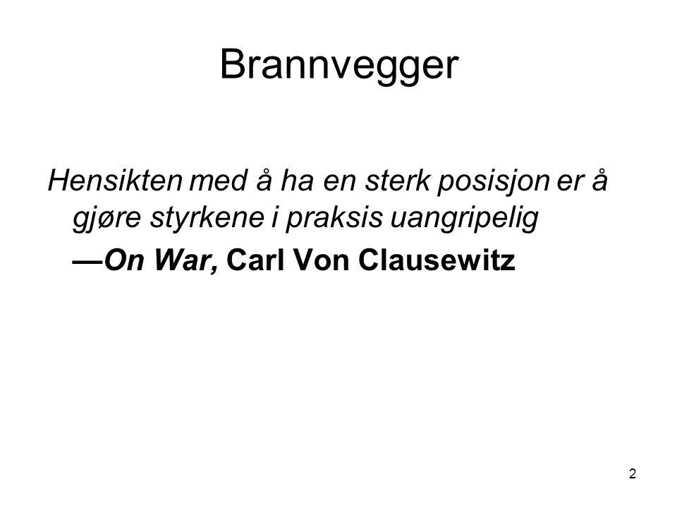 2 Brannvegger Hensikten med å ha en sterk posisjon er å gjøre styrkene i praksis uangripelig —On War, Carl Von Clausewitz