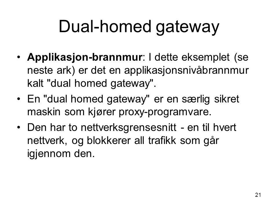 21 Dual-homed gateway Applikasjon-brannmur: I dette eksemplet (se neste ark) er det en applikasjonsnivåbrannmur kalt dual homed gateway .