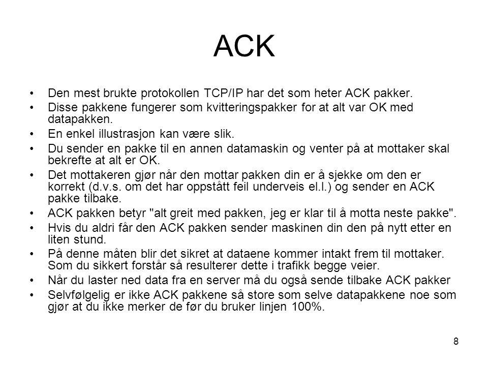 8 ACK Den mest brukte protokollen TCP/IP har det som heter ACK pakker.