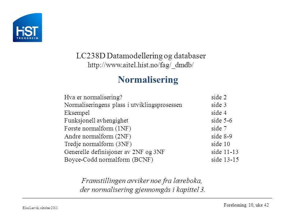 LC238D Datamodellering og databaser http://www.aitel.hist.no/fag/_dmdb/ Else Lervik, oktober 2011 Forelesning 10, uke 42 Normalisering Hva er normalis
