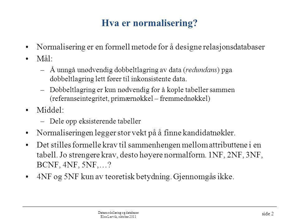 Datamodellering og databaser Else Lervik, oktober 2011 side 2 Hva er normalisering? Normalisering er en formell metode for å designe relasjonsdatabase