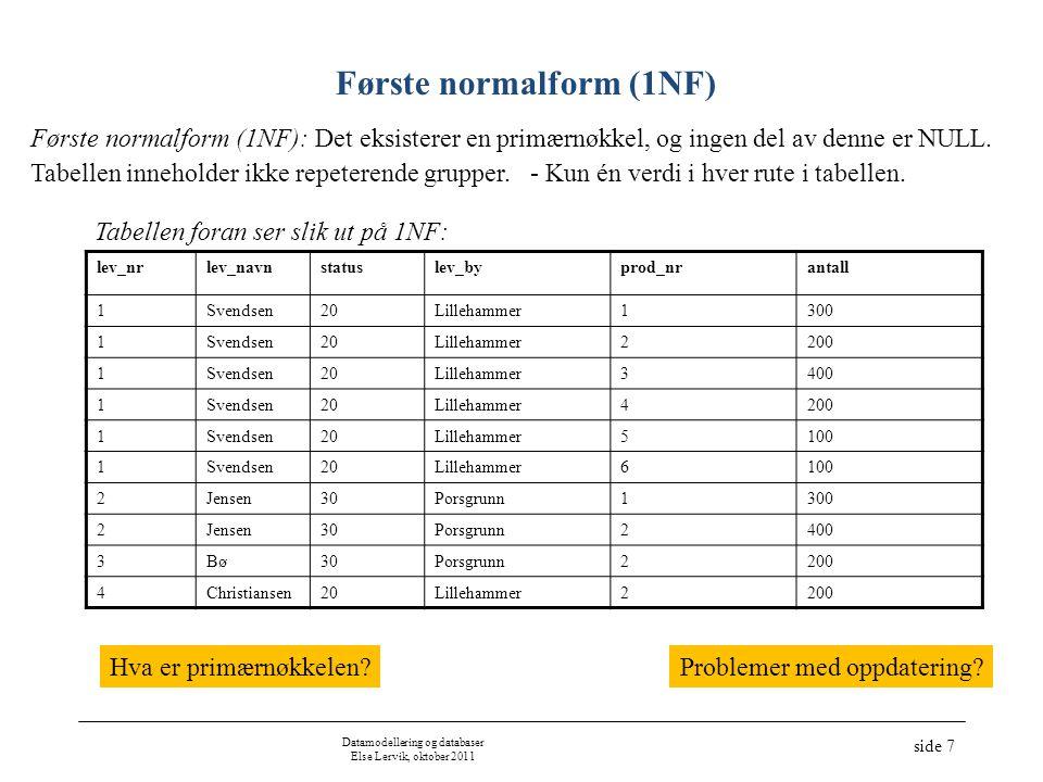 Datamodellering og databaser Else Lervik, oktober 2011 side 7 Første normalform (1NF) Tabellen foran ser slik ut på 1NF: lev_nrlev_navnstatuslev_bypro