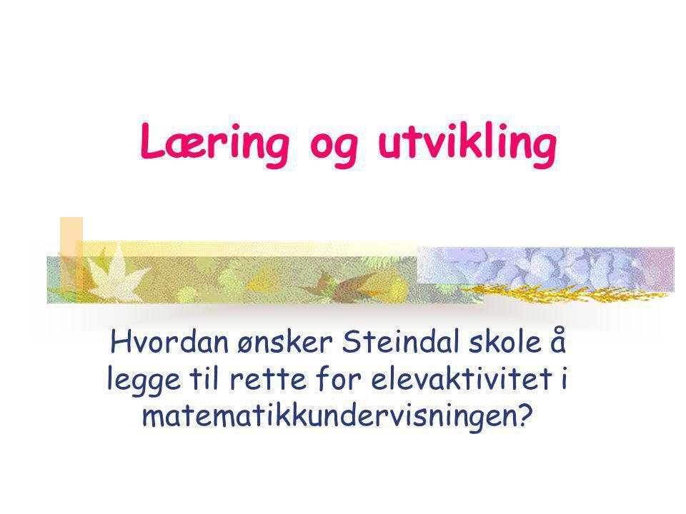 Læring og utvikling Hvordan ønsker Steindal skole å legge til rette for elevaktivitet i matematikkundervisningen?