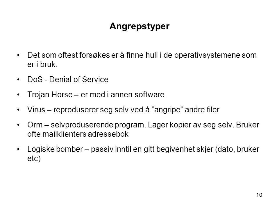10 Angrepstyper Det som oftest forsøkes er å finne hull i de operativsystemene som er i bruk.