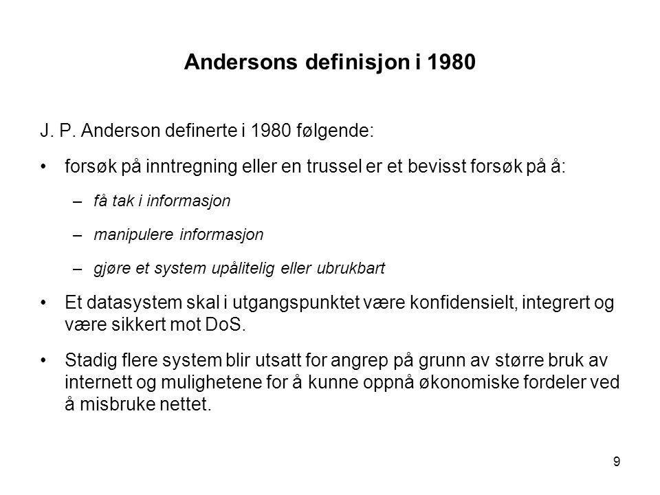 9 Andersons definisjon i 1980 J. P.