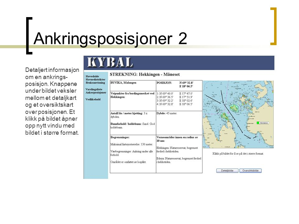 Ankringsposisjoner 2 Detaljert informasjon om en ankrings- posisjon.