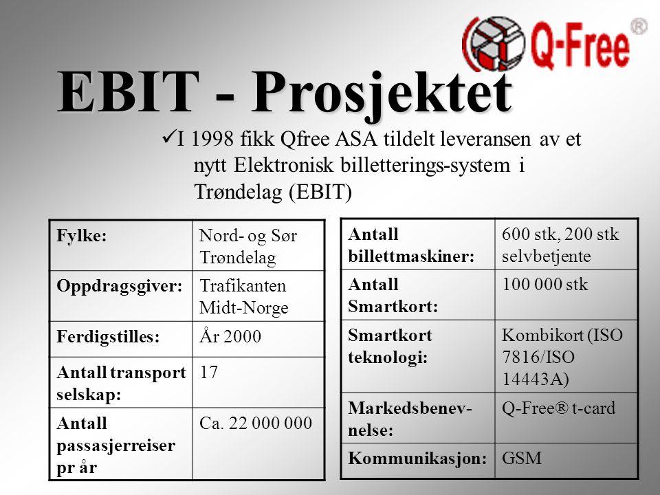 EBIT - Prosjektet I 1998 fikk Qfree ASA tildelt leveransen av et nytt Elektronisk billetterings-system i Trøndelag (EBIT) Fylke:Nord- og Sør Trøndelag Oppdragsgiver:Trafikanten Midt-Norge Ferdigstilles:År 2000 Antall transport selskap: 17 Antall passasjerreiser pr år Ca.