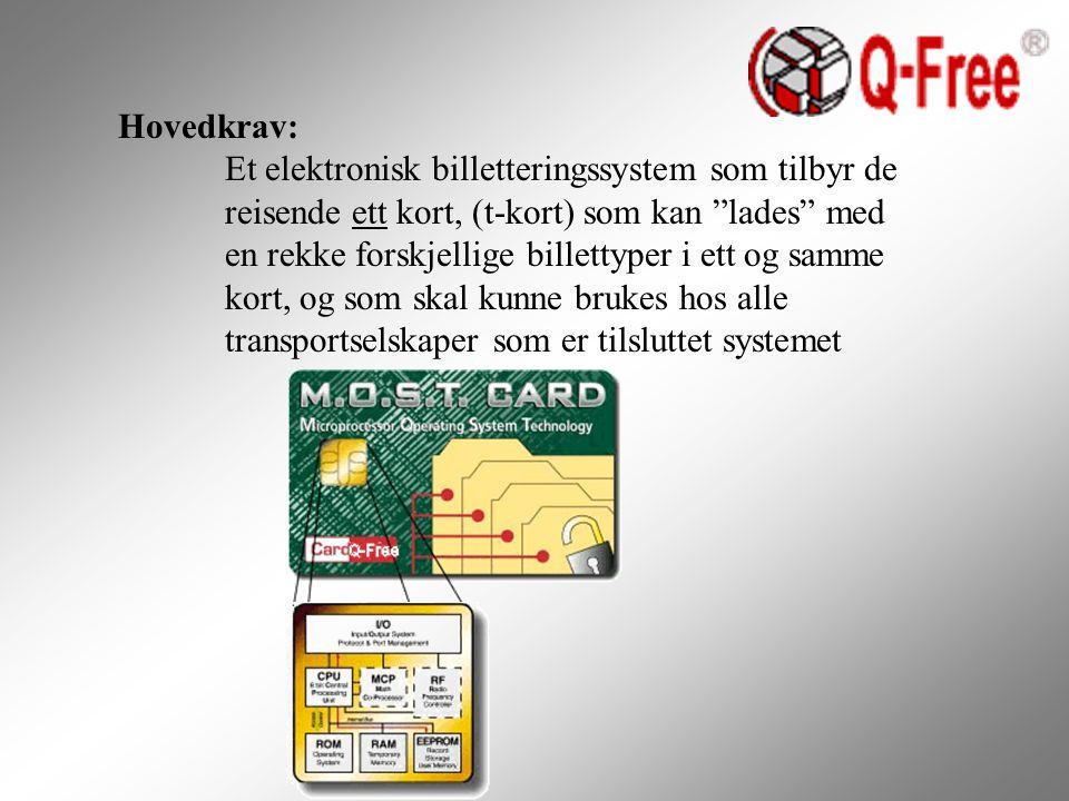 Hovedkrav: Et elektronisk billetteringssystem som tilbyr de reisende ett kort, (t-kort) som kan lades med en rekke forskjellige billettyper i ett og samme kort, og som skal kunne brukes hos alle transportselskaper som er tilsluttet systemet