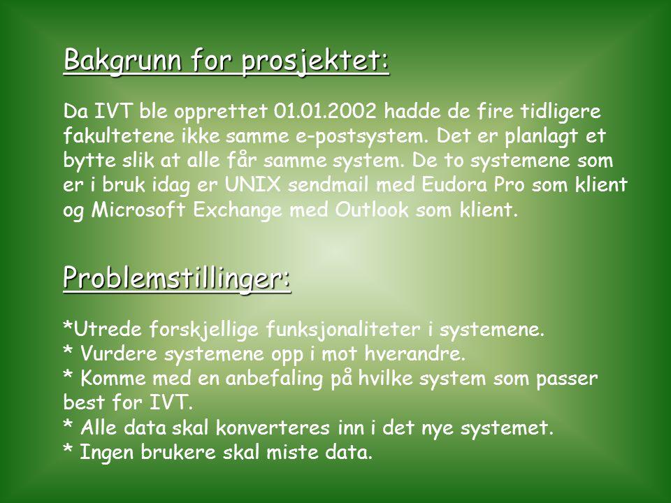 Bakgrunn for prosjektet: Problemstillinger: Da IVT ble opprettet 01.01.2002 hadde de fire tidligere fakultetene ikke samme e-postsystem. Det er planla