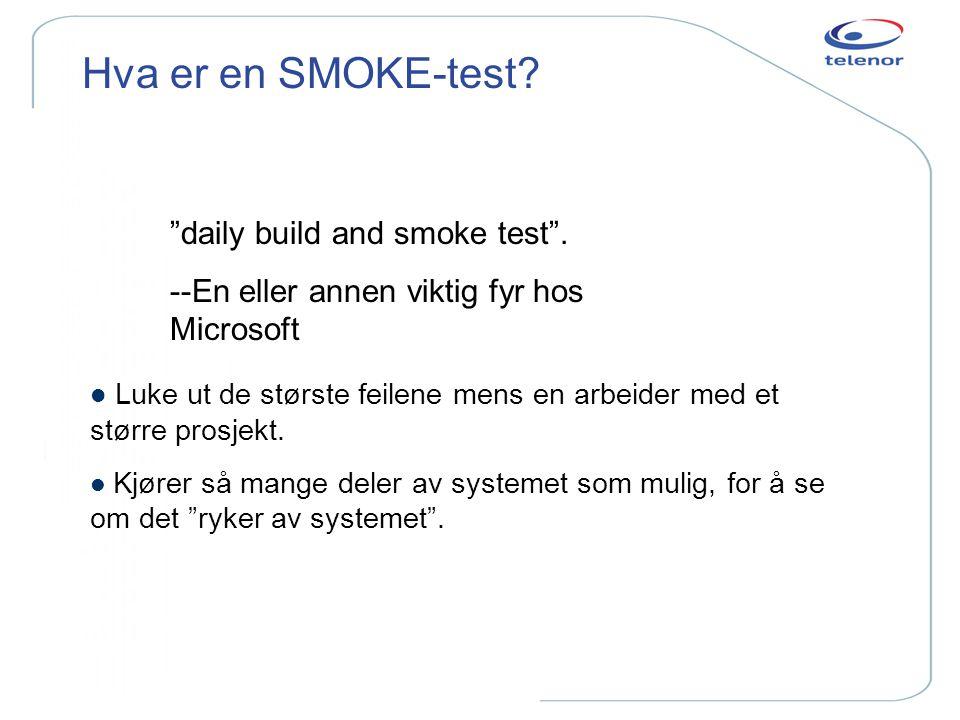 """Hva er en SMOKE-test? """"daily build and smoke test"""". --En eller annen viktig fyr hos Microsoft l Luke ut de største feilene mens en arbeider med et stø"""