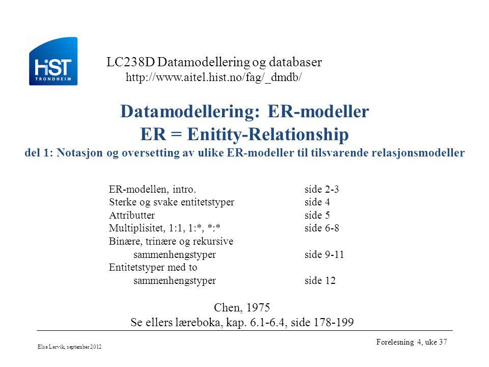 LC238D Datamodellering og databaser http://www.aitel.hist.no/fag/_dmdb/ Else Lervik, september 2012 Forelesning 4, uke 37 Datamodellering: ER-modeller ER = Enitity-Relationship del 1: Notasjon og oversetting av ulike ER-modeller til tilsvarende relasjonsmodeller ER-modellen, intro.side 2-3 Sterke og svake entitetstyperside 4 Attributterside 5 Multiplisitet, 1:1, 1:*, *:*side 6-8 Binære, trinære og rekursive sammenhengstyperside 9-11 Entitetstyper med to sammenhengstyperside 12 Chen, 1975 Se ellers læreboka, kap.