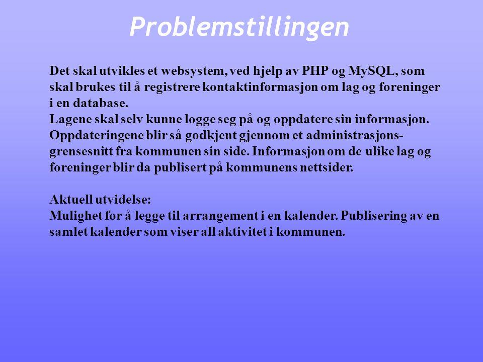 Problemstillingen Det skal utvikles et websystem, ved hjelp av PHP og MySQL, som skal brukes til å registrere kontaktinformasjon om lag og foreninger