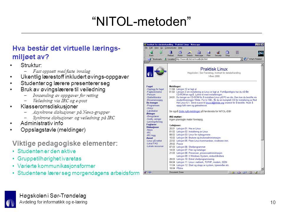 """Høgskolen i Sør-Trøndelag Avdeling for informatikk og e-læring 10 """"NITOL-metoden"""" Struktur: –Fast oppsett med faste innslag Ukentlig lærestoff inklude"""