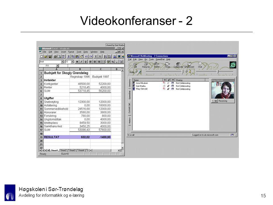 Høgskolen i Sør-Trøndelag Avdeling for informatikk og e-læring 15 Videokonferanser - 2