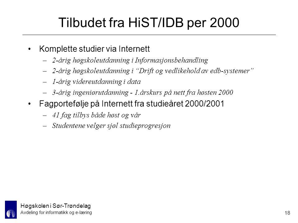 Høgskolen i Sør-Trøndelag Avdeling for informatikk og e-læring 18 Tilbudet fra HiST/IDB per 2000 Komplette studier via Internett –2-årig høgskoleutdan