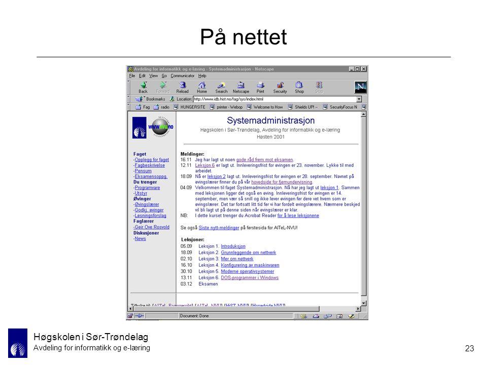 Høgskolen i Sør-Trøndelag Avdeling for informatikk og e-læring 23 På nettet