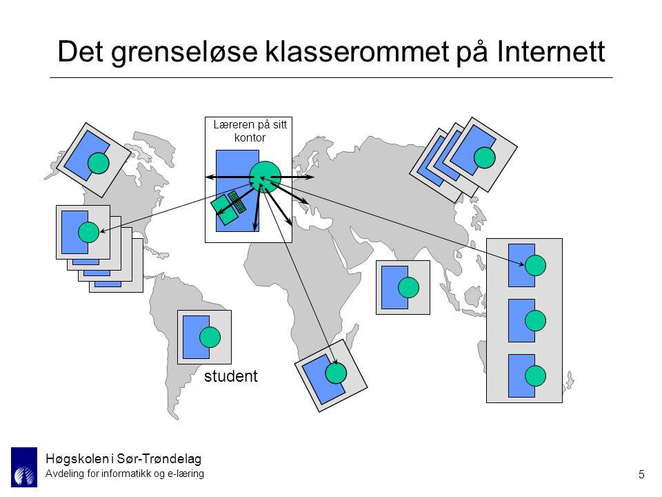 Høgskolen i Sør-Trøndelag Avdeling for informatikk og e-læring 5 Det grenseløse klasserommet på Internett Læreren på sitt kontor student