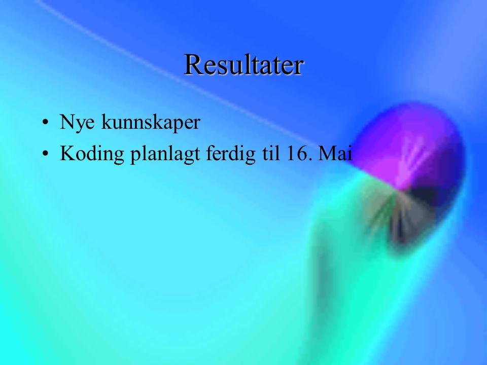 Resultater Nye kunnskaper Koding planlagt ferdig til 16. Mai