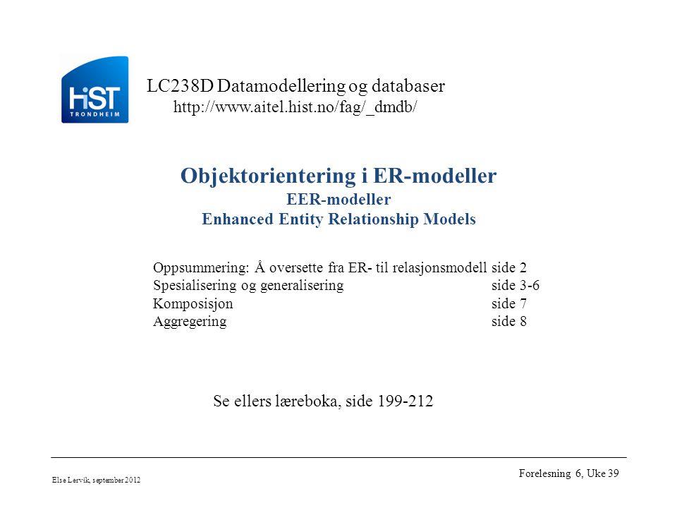 LC238D Datamodellering og databaser http://www.aitel.hist.no/fag/_dmdb/ Else Lervik, september 2012 Forelesning 6, Uke 39 Objektorientering i ER-modeller EER-modeller Enhanced Entity Relationship Models Oppsummering: Å oversette fra ER- til relasjonsmodellside 2 Spesialisering og generaliseringside 3-6 Komposisjonside 7 Aggregeringside 8 Se ellers læreboka, side 199-212