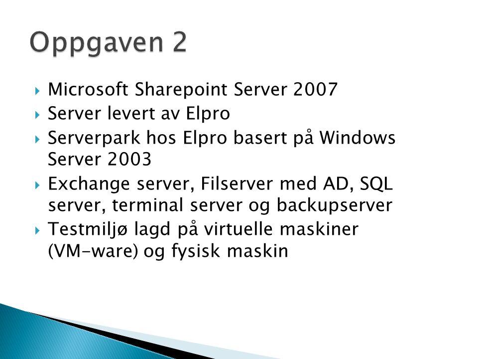  Microsoft Sharepoint Server 2007  Server levert av Elpro  Serverpark hos Elpro basert på Windows Server 2003  Exchange server, Filserver med AD,