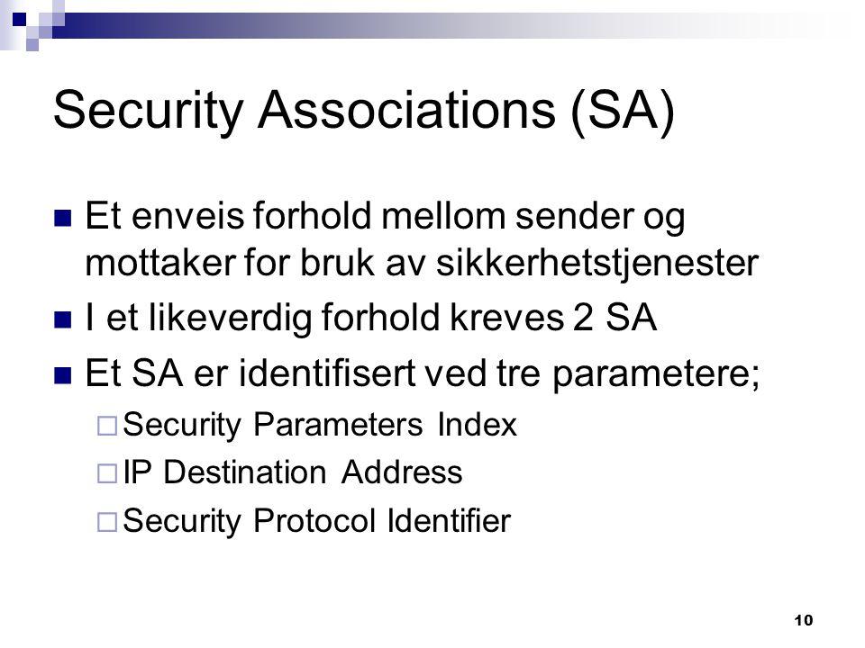 10 Security Associations (SA) Et enveis forhold mellom sender og mottaker for bruk av sikkerhetstjenester I et likeverdig forhold kreves 2 SA Et SA er