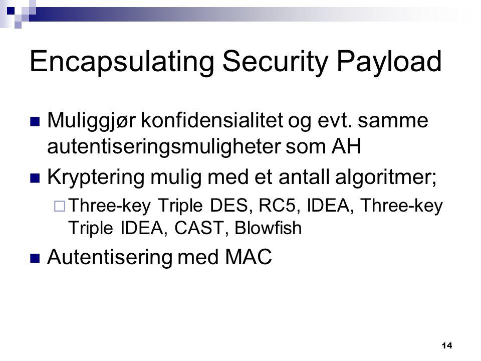 14 Encapsulating Security Payload Muliggjør konfidensialitet og evt. samme autentiseringsmuligheter som AH Kryptering mulig med et antall algoritmer;